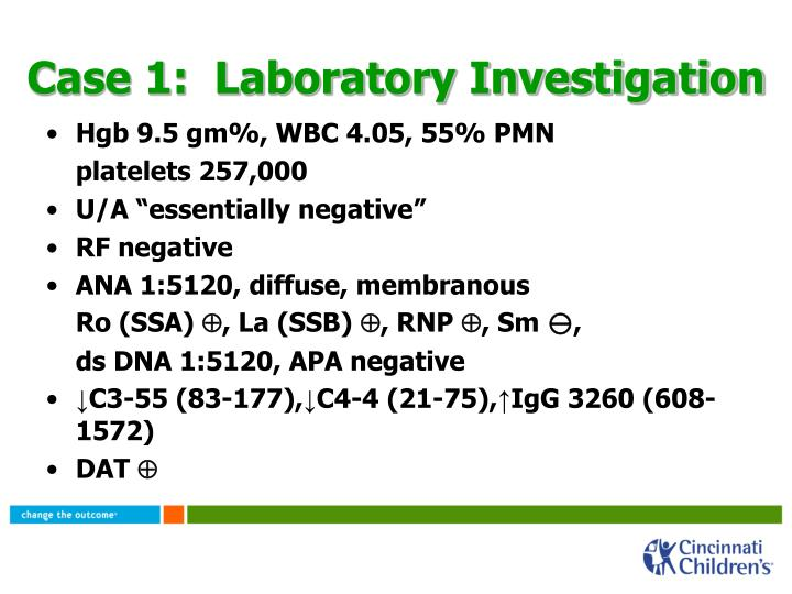 Case 1:  Laboratory Investigation