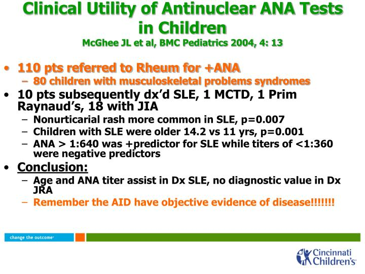 Clinical Utility of Antinuclear ANA Tests in Children