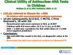 clinical utility of antinuclear ana tests in children mcghee jl et al bmc pediatrics 2004 4 13