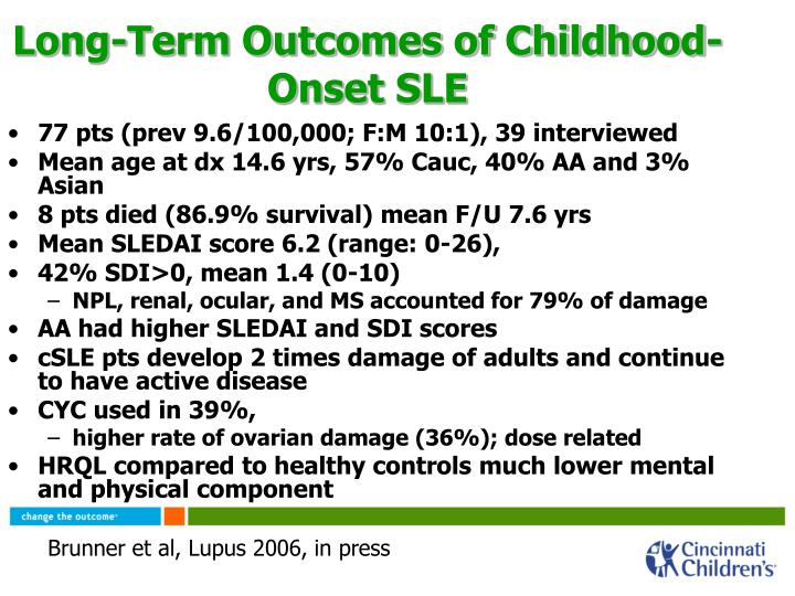 Long-Term Outcomes of Childhood-Onset SLE