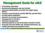 management goals for csle