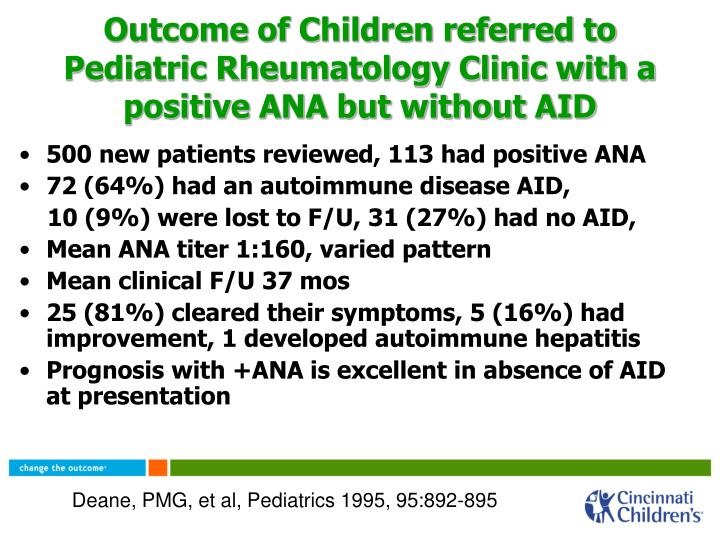 Outcome of Children referred to Pediatric Rheumatology Clinic with a positive ANA but without AID