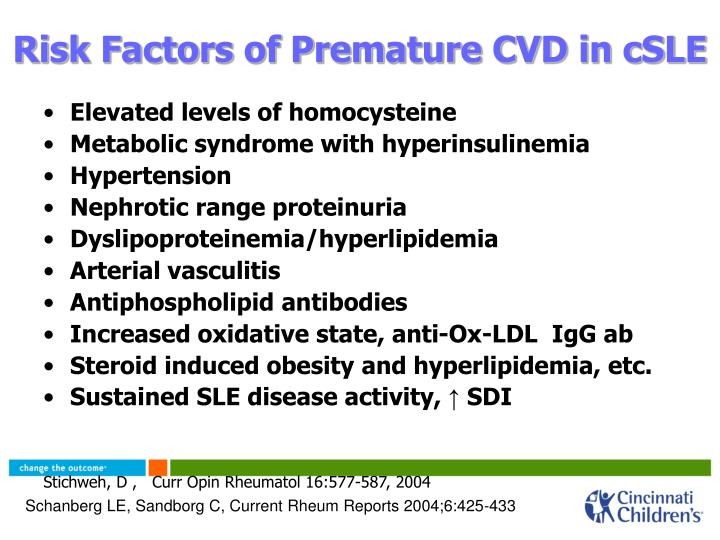 Risk Factors of Premature CVD in cSLE
