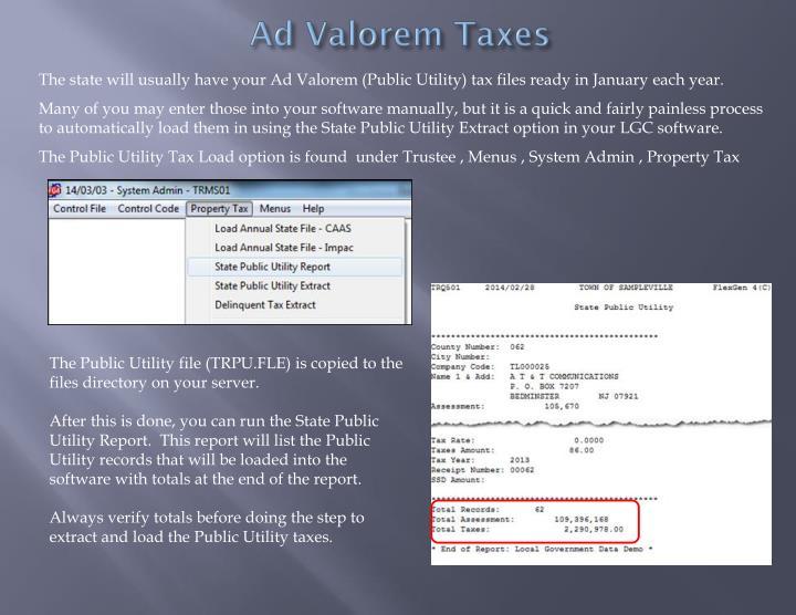 Ad Valorem Taxes
