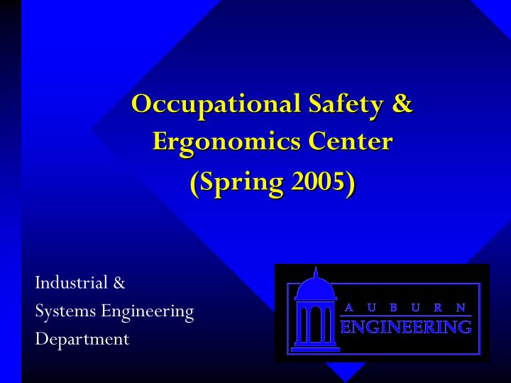 Occupational safety ergonomics center spring 2005