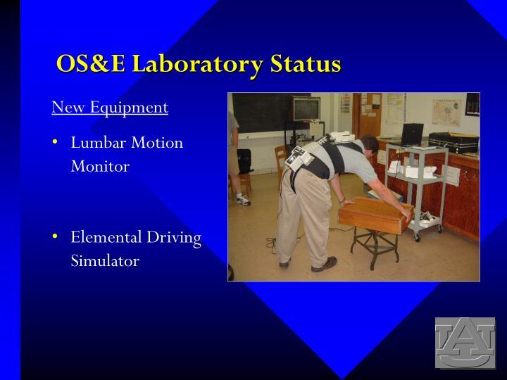 OS&E Laboratory Status