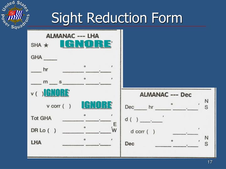 Sight Reduction Form