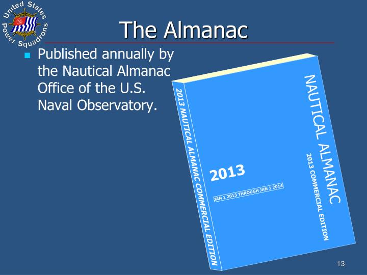Published annually by the Nautical Almanac Office of the U.S. Naval Observatory.