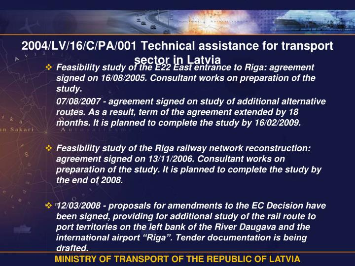 2004/LV/16/C/PA/001 Technical assistance for transport sector in Latvia