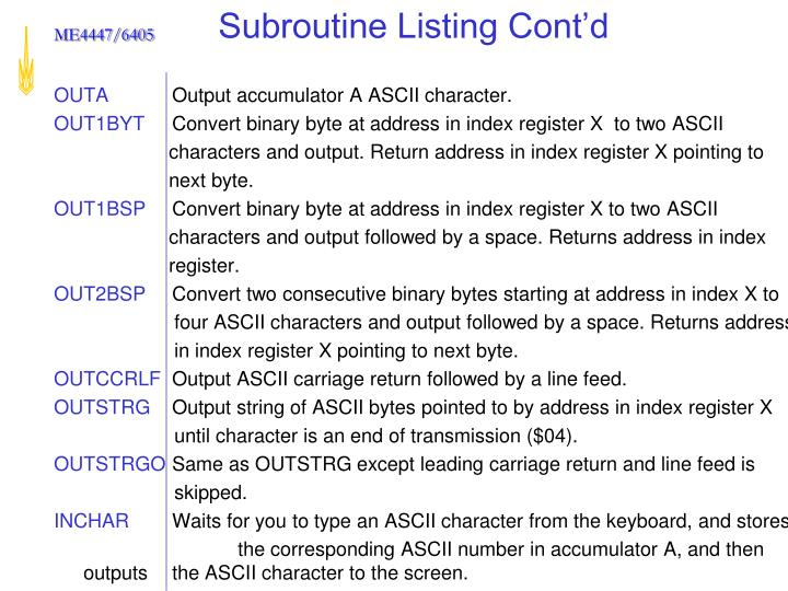 Subroutine Listing Cont'd