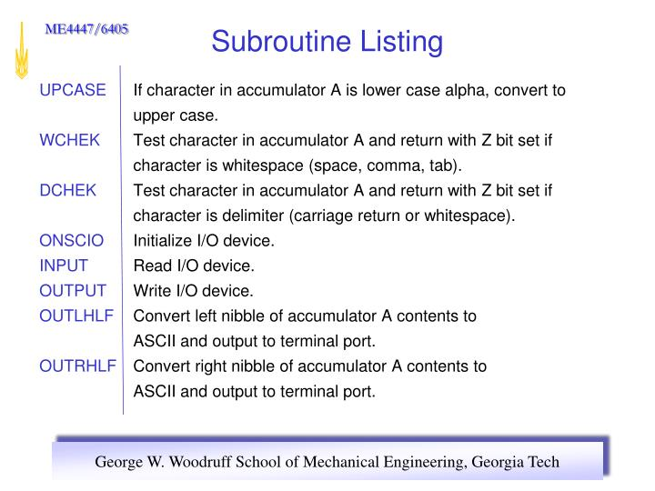 Subroutine Listing