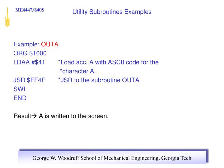 Utility Subroutines Examples