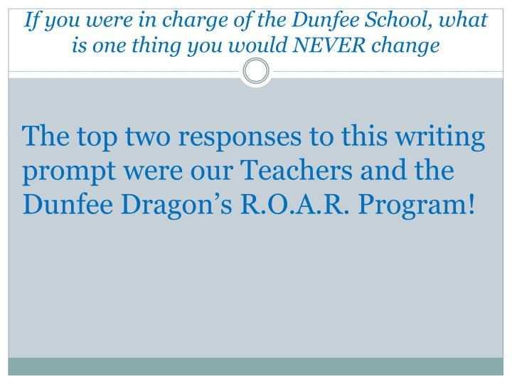 If you were in charge of the Dunfee School, what is one thing you would NEVER change