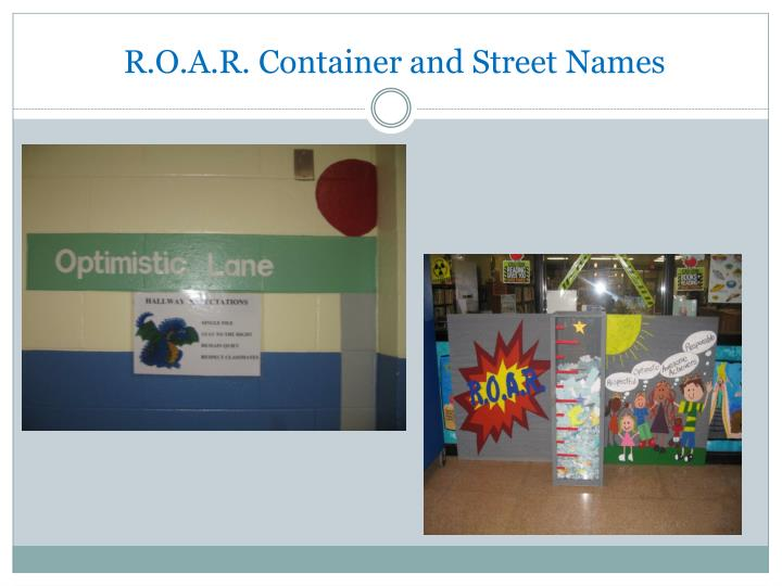 R.O.A.R. Container and Street Names