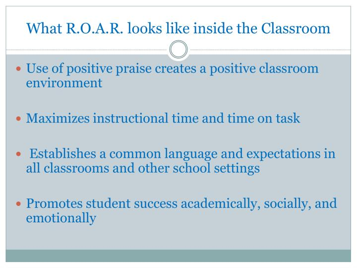 What R.O.A.R. looks like inside the Classroom