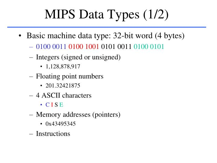 MIPS Data Types (1/2)