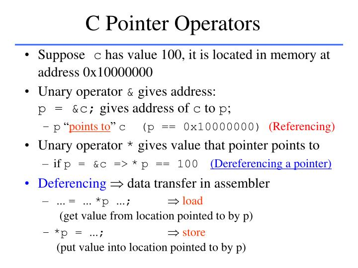 C Pointer Operators