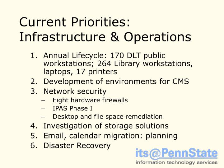 Current Priorities: Infrastructure & Operations