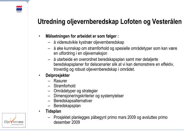 Utredning oljevernberedskap Lofoten og Vesterålen