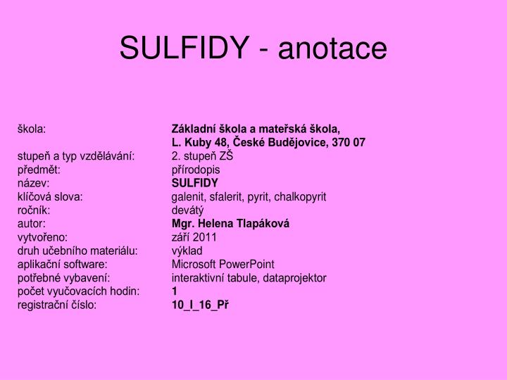 Sulfidy anotace