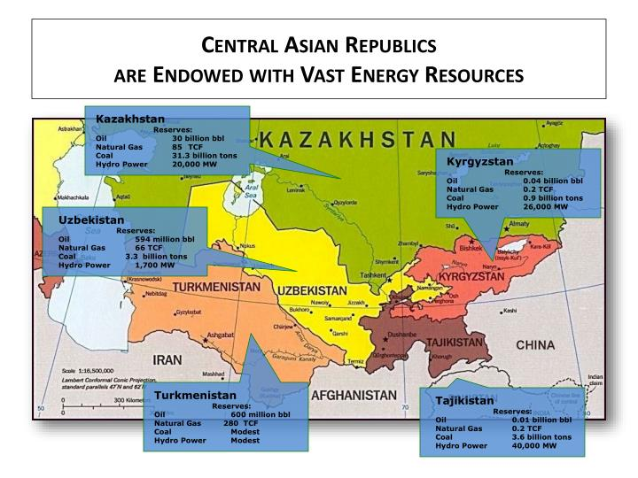 Central asian republics are endowed with vast energy resources