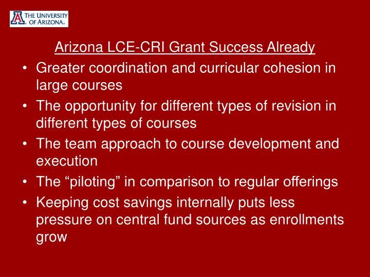 Arizona LCE-CRI Grant Success Already