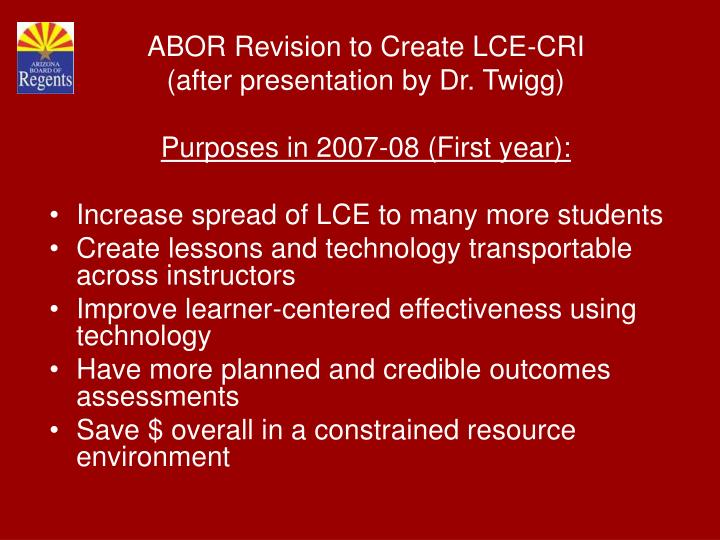 ABOR Revision to Create LCE-CRI