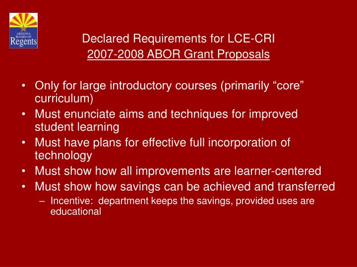 Declared Requirements for LCE-CRI