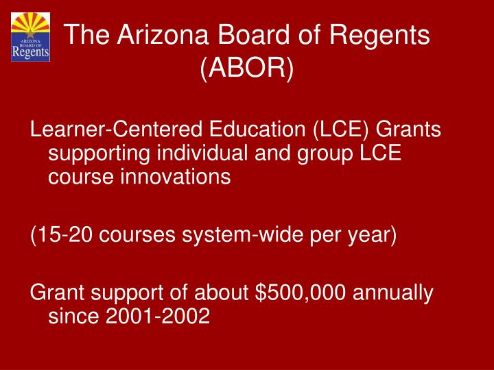 Learner-Centered Education (LCE) Grants supporting individual and group LCE course innovations