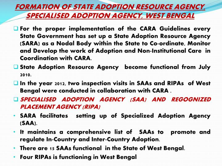 FORMATION OF STATE ADOPTION RESOURCE AGENCY,  SPECIALISED ADOPTION AGENCY, WEST BENGAL