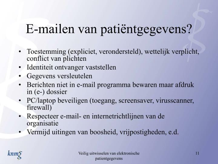 E-mailen van patiëntgegevens?