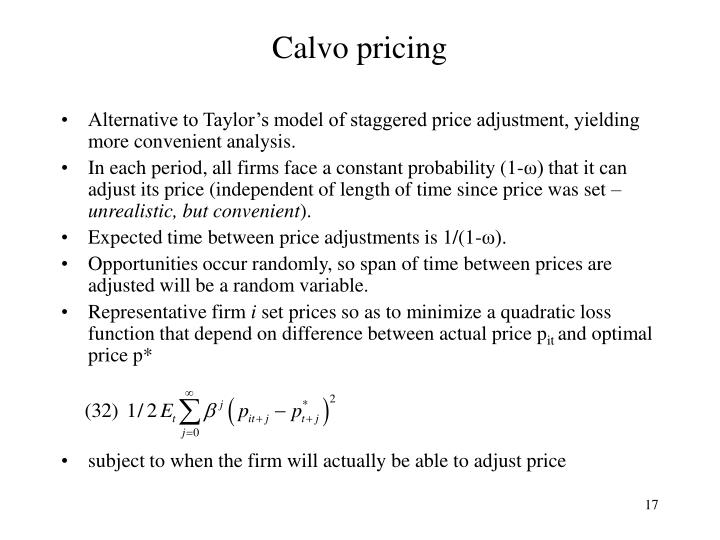Calvo pricing