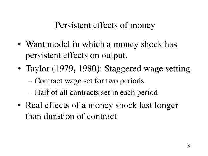 Persistent effects of money