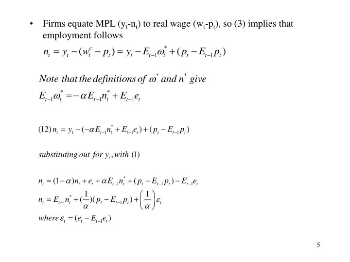 Firms equate MPL (y