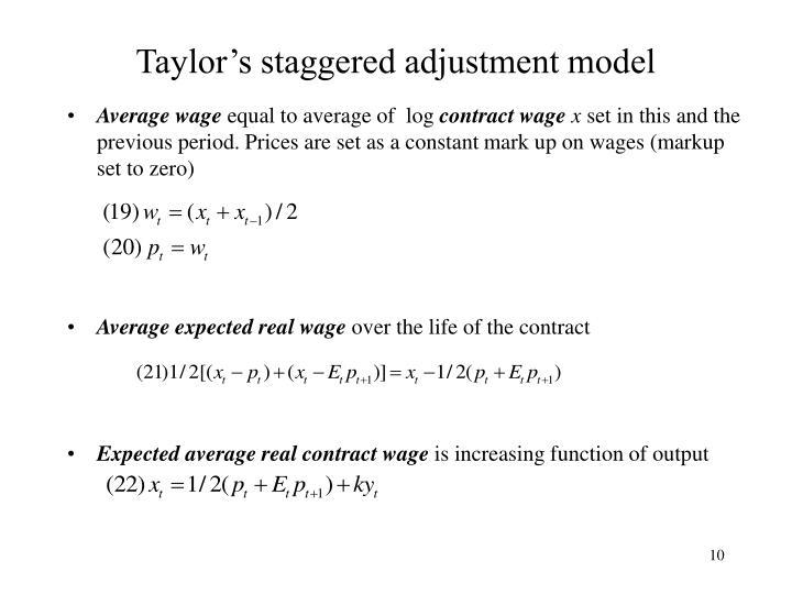 Taylor's staggered adjustment model