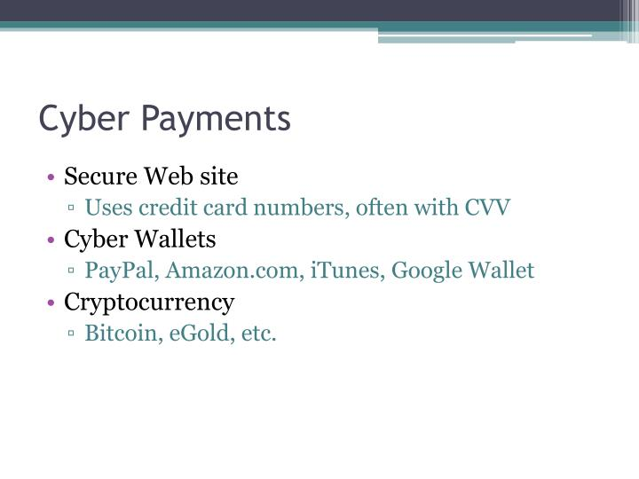 Cyber payments