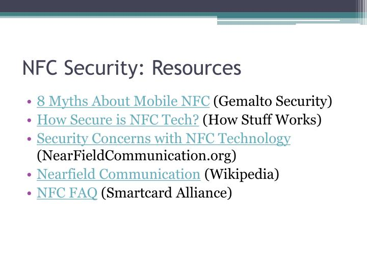NFC Security: Resources