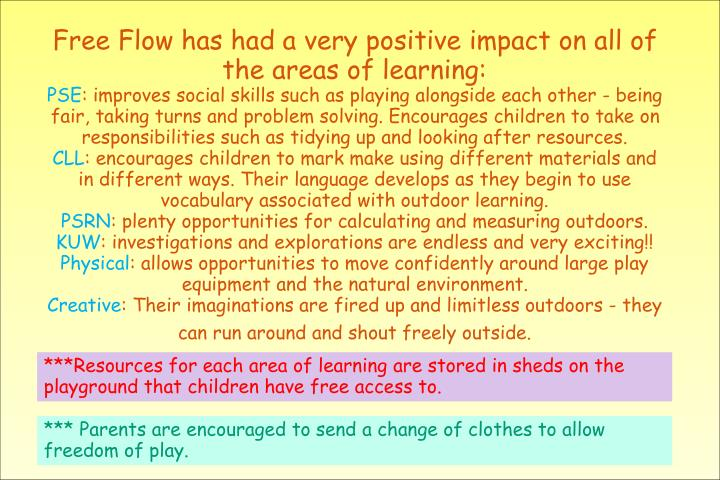 Free Flow has had a very positive impact on all of the areas of learning: