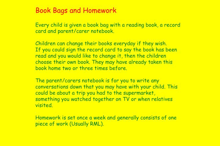 Book Bags and Homework