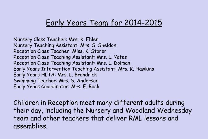 Early Years Team for 2014-2015