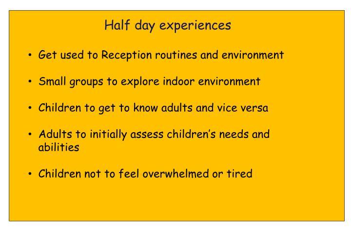 Half day experiences