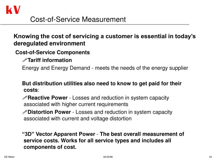 Cost-of-Service Measurement