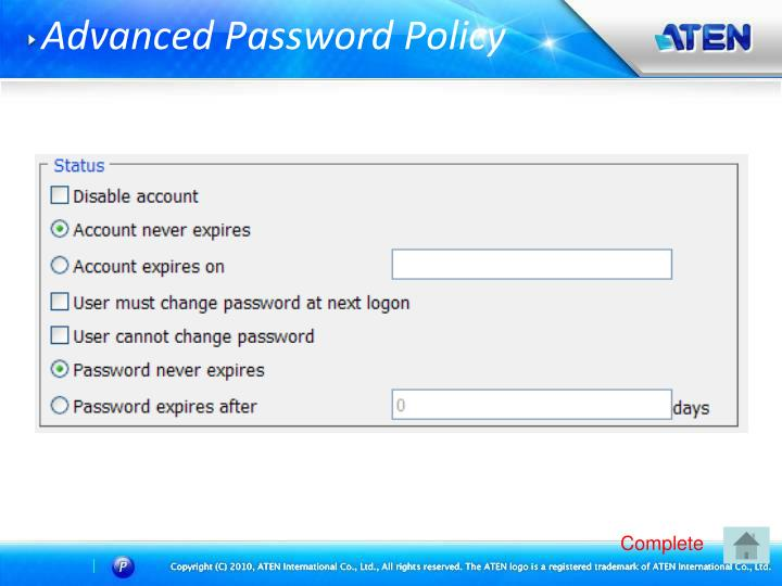Advanced Password Policy