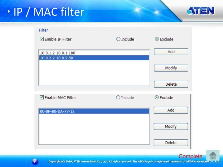IP / MAC filter