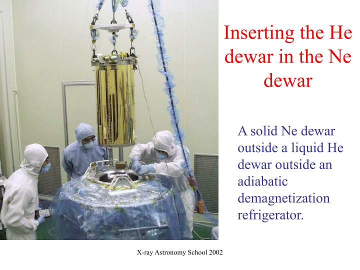 Inserting the He dewar in the Ne dewar