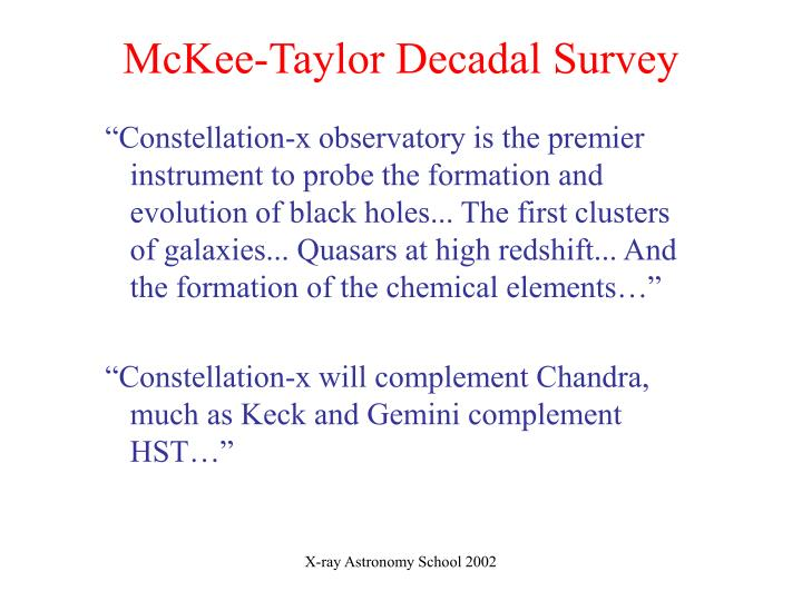 McKee-Taylor Decadal Survey