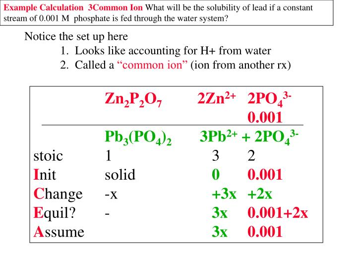 Example Calculation  3Common Ion