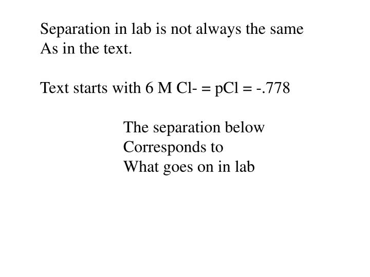 Separation in lab is not always the same