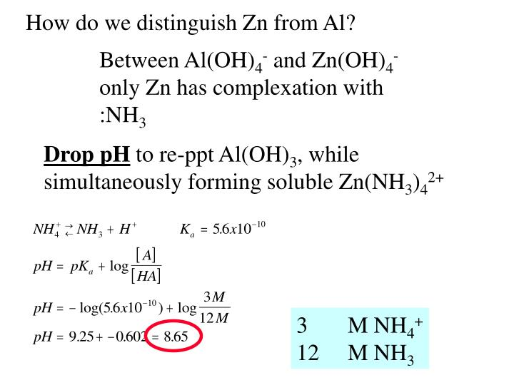 How do we distinguish Zn from Al?