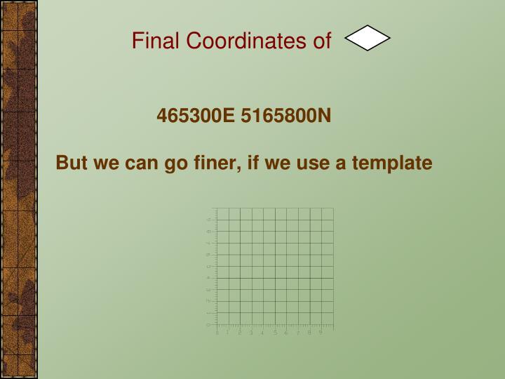 Final Coordinates of